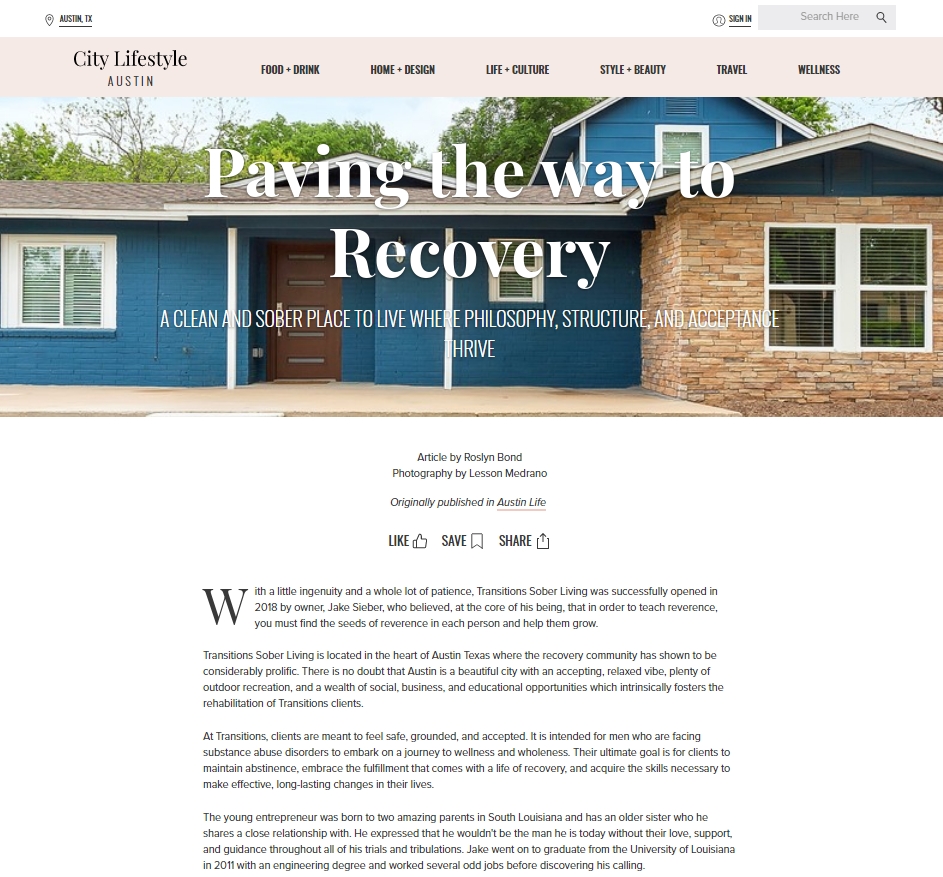 Transitions Sober Living featured by City Lifestyle Austin